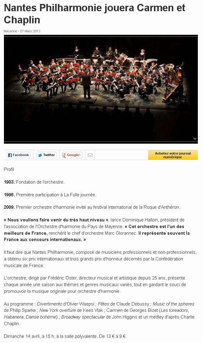 Nantes Philharmonie jouera Carmen et Chaplin