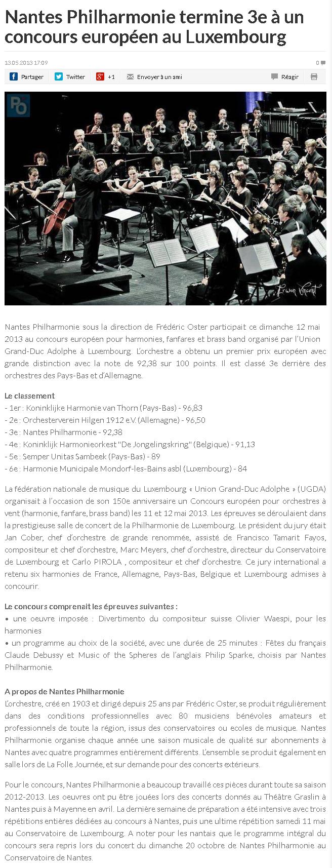 Nantes Philharmonie termine 3e à un concours européen au Luxembourg
