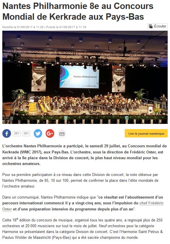 Nantes Philharmonie 8e au Concours Mondial de Kerkrade aux Pays-Bas